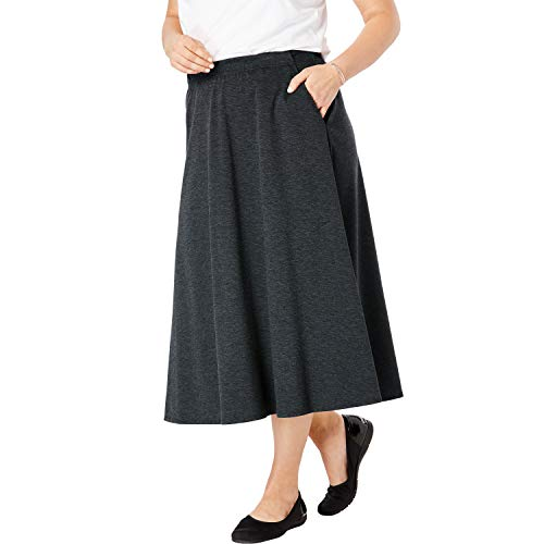 - Woman Within Women's Plus Size A-Line Ponte Skirt - Heather Charcoal, 26/28