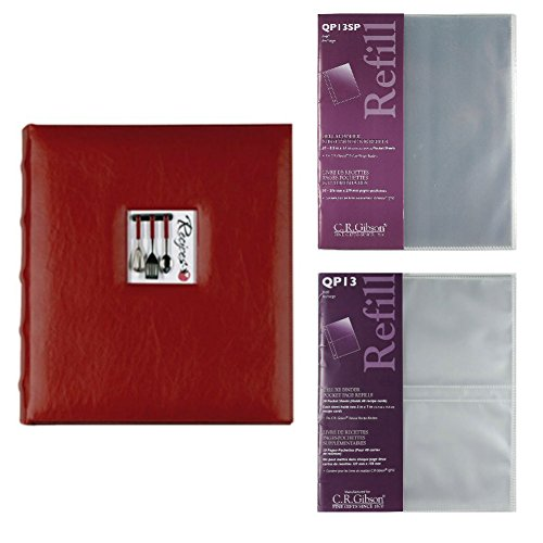 C.R. Gibson A La Carte Deluxe Kitchen Binder With QP-13 and QP-13SP Deluxe Pocket Page Refills by C.R. Gibson