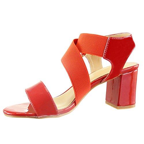 Angkorly - Chaussure Mode Sandale ouverte femme clouté métallique verni Talon haut bloc 6.5 CM - Rouge