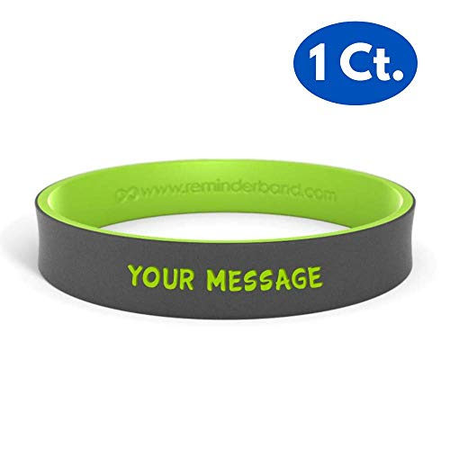 Reminderband - Custom Dual Layer 100% Silicone Wristband - Personalized Silicone Rubber Bracelet - Customized, Events, Gifts, Support, Causes, Fundraisers, Awareness - Men, Women, -