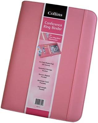 Collins- Carpeta archivadora con anillas con cremallera y acolchado externo color rosa