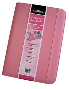 Collins- Carpeta archivadora con anillas con cremallera y acolchado externo color rosa: Amazon.es: Oficina y papelería