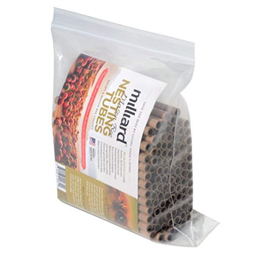 Milliard Mason Bee Nest Tubes Cardboard Refill- 100 Tube Pack/Length 6 inch Opening Diameter 5/16 inches