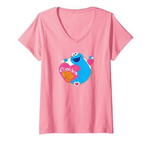 Womens Sesame Street Cookie Monster Love Cookies V-Neck -