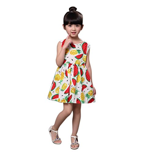 Mosunx(TM) Baby Girls Summer Floral Fruits Sleeveless Dresses Princess Dress (3T, White)