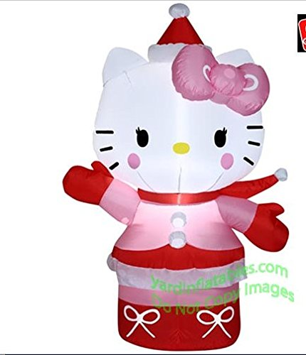 Gemmy Airblown Inflatable Hello Kitty Wearing Winter Outfit - Indoor Outdoor Holiday Decoration, 3.5-foot Tall