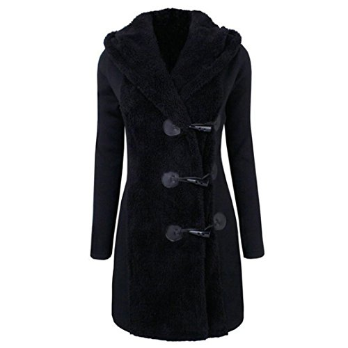 Abrigo grueso para mujeres,QinMM Abrigo de botones cálidos Sudadera con capucha de parka coat Negro