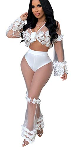 (SAMACHICA Women Sexy See Through Sheer Mesh Applique Lace up Top Wide Leg Long Pants 2 Piece Outfit Clubwear White S)