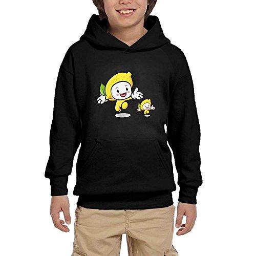 9405c5862208f Quliuwuda Teen One Big and One Small Cartoon Lemon Casual Style Walk Black  Hoodie M