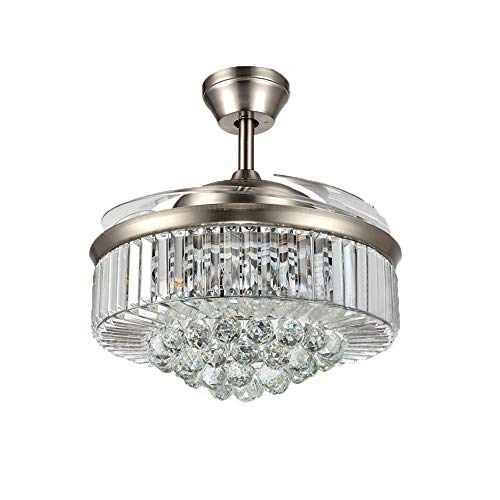 Crystal Reverse 6-Gear Speed Chandelier Ceiling Fan Light with Retractable Blades and Remote for Indoor Living Room Kitchen Crystal LED Quiet 42 Inch Polished Silver Lighting,3 Color Changing