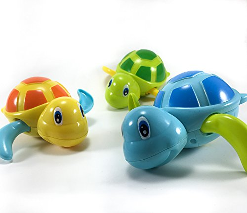 Set of 3 Float Bathtub / Pool Fun Toys Wind Up Swimming Turtles Cute For Boys & Girls (Unisex), Green - Blue - Orange Turtle Swimming Pool