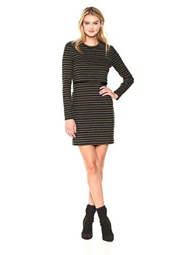 Nicole Miller Women's Vintage Stripe Pop Over Sweatshirt Dress, Olive Multi (Omt), M