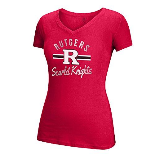 NCAA Rutgers Scarlet Knights Women's School Spirit Stripe Essential Tee, Red, (Scarlet Knights Tee)