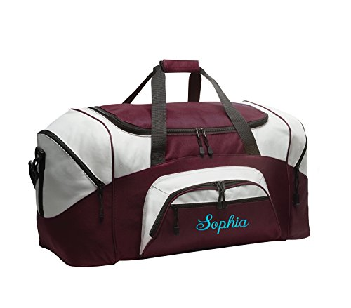 All about me company Standard Colorblock Sport Duffel Bag | Personalized Monogram/Name Gym Bag (Maroon/Grey) ()