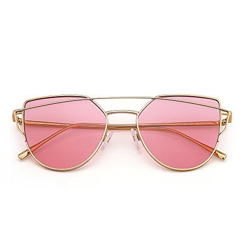 Cat Eye Twin-Beams Aviator Sunglasses Solid Color Transparent Lenses Women UV400 - Transparent Lenses