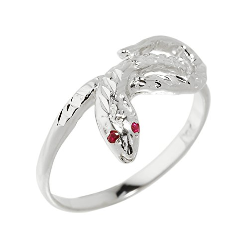 High Polish 10k White Gold Dainty Red-Eyed Snake Ring (Size 12) ()