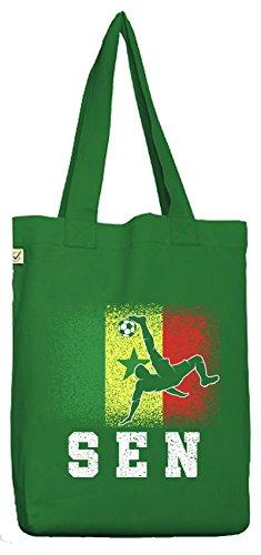 ShirtStreet Wappen Fußball WM Fanfest Gruppen Fan Bio Baumwoll Jutebeutel Stoffbeutel Senegal Football Player Moss Green