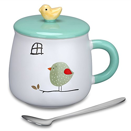 Coffee Mug Lovely Cute 3D Bird Mugs Creative Ceramic Tea Cup with Lid & Spoon Kids Milk Cup , Perfect Christmas Birthday Gifts for Children/Friends/Girlfriend/Animal Lovers, 15.4 Oz. (Bird-1)