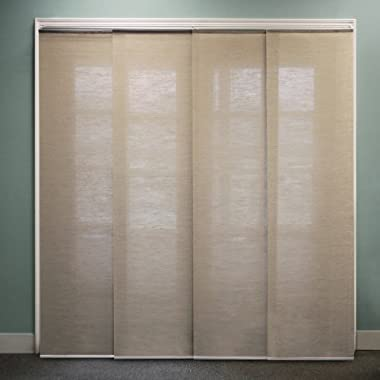 Chicology Adjustable Sliding Panel, Cordless Shade, Double Rail Track, Privacy Fabric, 80  x 96 , Nevada Timberwolf