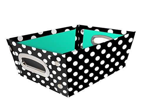 Snap-N-Store Select Home Storage Tapered Bin, 11.4 x 4.25 x 8.3 Inches, Black/White Polka Dot (SNS01965) ()