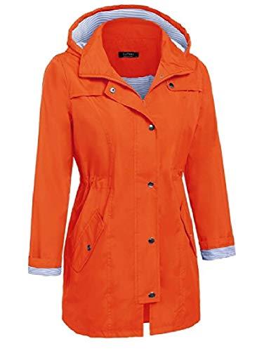 Giacche Cappuccio Lunghe Energia Moda Impermeabile Casual Arancione Tuta Donne Sportiva Metà Delle wIgqTBET