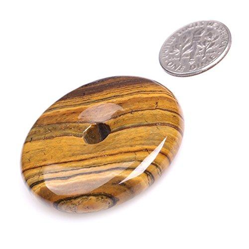 Gemstone Donuts - Yellow Tiger Eye Ring Circle Donuts Beads for Jewelry Making Natural Semi Precious Gemstone 40mm JOE FOREMAN