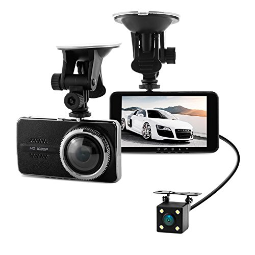 Full HD 1080P Front + VGA Rear 290 Degree Super Wide Angle Car Dash Cam with 4.0' IPS Screen, G-Sensor, Motion Detection, Parking Mode etc