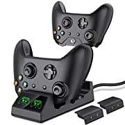 #LightningDeal ESYWEN Xbox One Controller Charger 2 x 800mAh Xbox Controller Battery Dual Charging Station for Xbox One/One S/One X/One Elite - 2 PCS Rechargeable Battery Packs