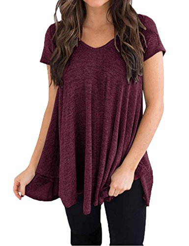 Hi Low Hem Top - Queensheero Summer Casual V Neck T Shirts for Women Hi Low Hem Tops Blouses Wine Red,M