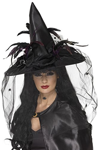 Smiffys Witch Hat, Feathers & Netting