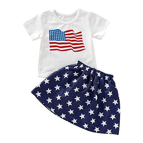 (LiLiMeng Toddler Kids Baby Girl 4th of July Stars and Stripe Patriotic Short Sleeve Shirt Tutu Elastic Waist Skirt Outfit White)
