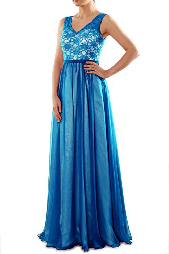 Dress Women Bridesmaid Neck Two Gown Teal V Long Evening MACloth Lace Tone Formal 8CTwqdq