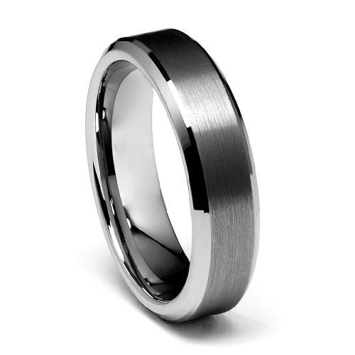 6 Mm Beveled Edge (6mm Beveled Edge Men's Tungsten Wedding Band - Size 7.5)
