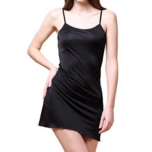 Paradise Silk Pure Silk Knitted Chemise Full Slips Sleepwear Small Black ()