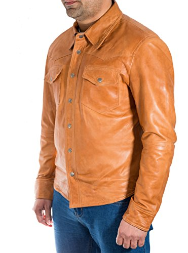 Vite Del Equipaggiata Trucker Uomo Pelle Tasto Di Intelligente Giacca Stile Vera Jeans Chiaro Marrone Prigioniera Camicia nC8RxwqP