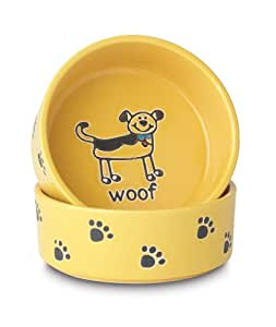 Petrageous Stoneware Pet Bowls Silly Doggy, 6-Inch, 2-Cups, Yellow