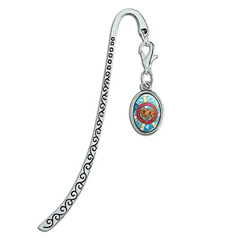 Flying Spaghetti Monster Stained Glass Metal Bookmark Page Marker with Oval ()