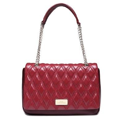 IUHA Diamond Lattice Leather Two Tone Satchel Bag