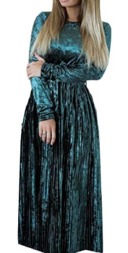 Dress Sleeve Round Line Green QianQian Long Pleated A Empire Womens AU Midi Velvet Neck 7wETTnUBqx