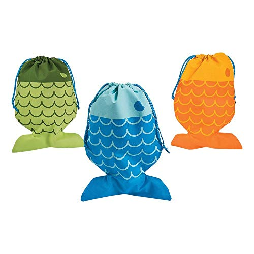 Little Fisherman Drawstring Bags - 12 pc by Party Supplies -
