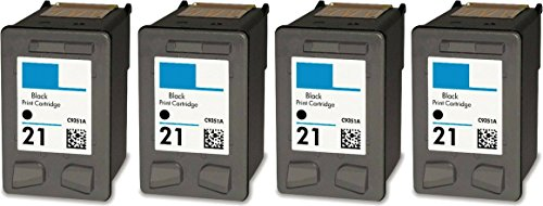 HouseOfToners Remanufactured Ink Cartridge Replacement for HP 21 C9351AN (4 Black, 4-Pack)