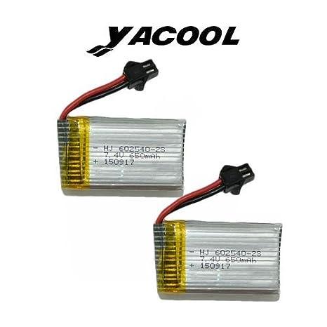 Yacool ® 2 piezas de 7.4V batería de litio de 650mAh de color JJRC ...