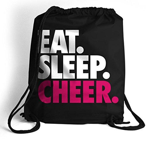 Eat. Sleep. Cheer. Cinch Sack | Cheerleading Bags by ChalkTalk SPORTS | Black