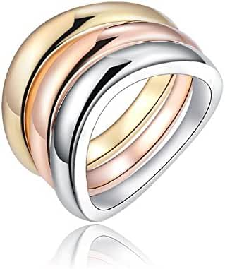 BMALL 18k Rose Gold Plated Ring Three Colors Three Circles Ring