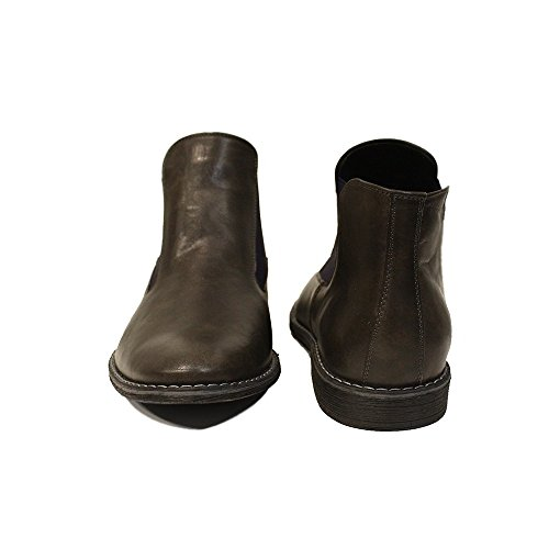 Leather Orazio PeppeShoes Handmade Smooth Mens Slip Ankle Boots On Cowhide Leather Chelsea Gray Italian Modello 7Twg4