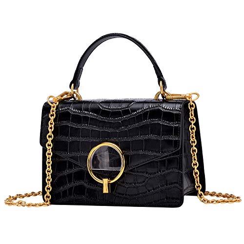PIJUSHI Crocodile Crossbody Shoulder Handbag For Women Fashion Small Top Handle Satchel Bags(J40 Black)