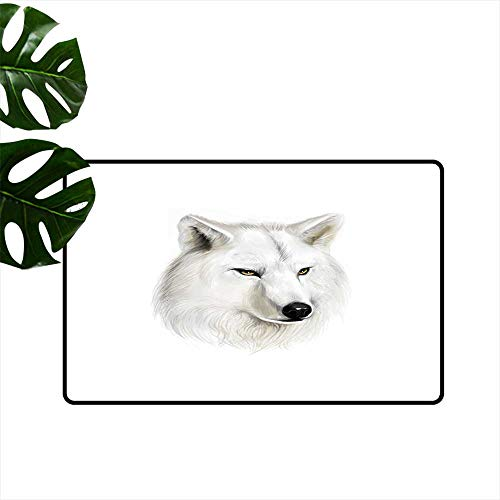PEONIY&HOME Wolf,Outdoor Floor Mats White Canine Head with Great Detail Hunter Mammal Wildlife Nature Scene Art Roommat W 20