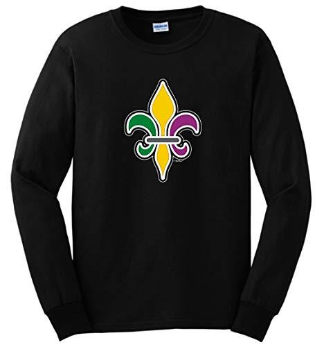 LA Mardi Gras Attire Fleur de Lis Gifts Mardi Gras Outfit Fleur-de-lis Mardi Gras Clothing Long Sleeve T-Shirt 4XL Black ()