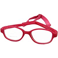 EnzoDate Children Glasses Frame Size 41mm No Screw, One-piece Optical Baby Eyewear with Strap Cord, Kids Eyeglasses, Safe Boys Girls Glasses Frame (rose)