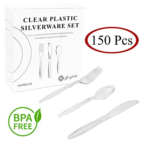 (150 Pcs. Heavy Duty Clear Plastic Cutlery Set - Disposable Silverware. Perfect for 50 Guests. 50 Forks, 50 Knives and 50 Spoons.)